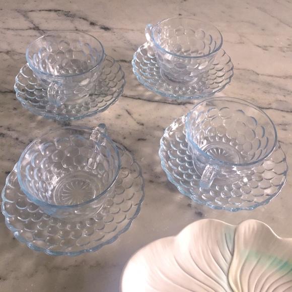 Vintage 4 blue bubble glass teacup saucer set